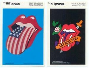 Rolling-Stones-2-Lengua-Afiche-Pequeno-Pegatinas-Casi-Nuevo