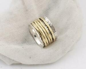 Solid-925-Sterling-Silver-Spinner-Ring-Meditation-Statement-Ring-Size-M456