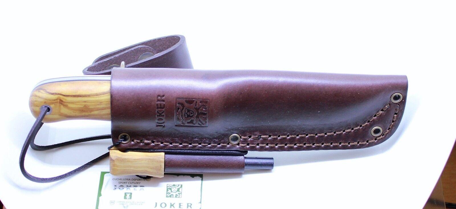 JOKER TRAMPERO CO113-P Olivenholz-Griff rostfrei Lederscheide Messer Jagdmesser  | Kostengünstiger