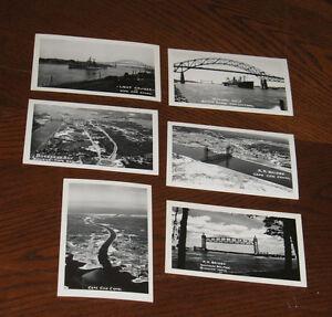 LOT-6-Vintage-Photo-Postcard-CAPE-COD-CANAL-Buzzards-Bay-Ship-Railroad-Bridge