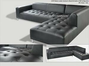 2 PC Gorgeous Modern contemporary Black Leather Sectional ...