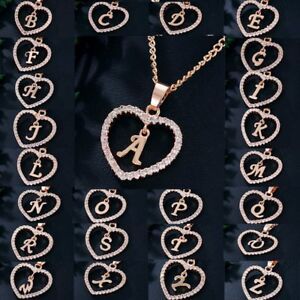 Charm-26-Letters-Alphabet-A-Z-Rose-Gold-Crystal-Heart-Pendant-Necklace-Jewelry