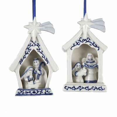 KURT ADLER SET OF 2 PORCELAIN DELFT BLUE HOLY FAMILY NATIVITY XMAS ORNAMENTS