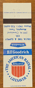 Vintage B.F. Goodrich Delta Tire & Supply Matchbook Cover Ad Memphis, TN a0429