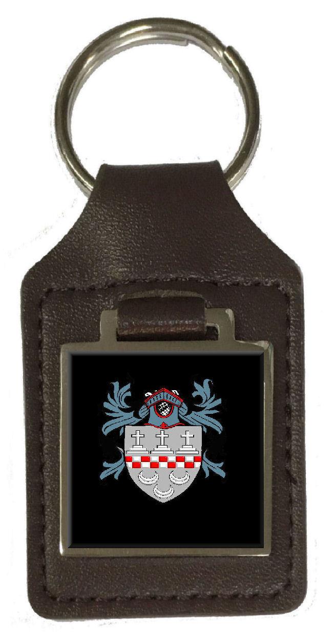 Rowan Familie Wappen Familienname Braunes Leder Schlüsselanhänger Graviert | Genial Und Praktisch