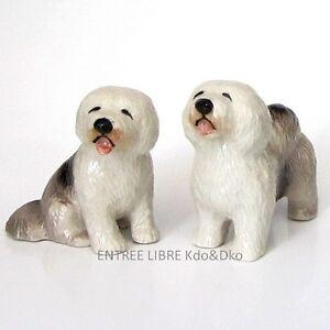 2-Miniatures-en-porcelaine-CHIEN-COLLEY-BARBU-4-5cm-Objet-de-vitrine-Collect