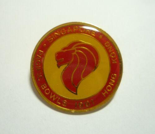 PACIFIC BOWLS CHAMPIONSHIPS 1991 Hong Kong Lawn Bowls SINGAPORE Enamel Badge