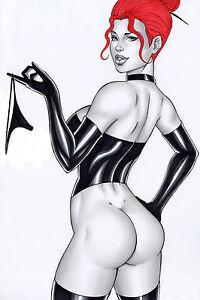 BLACK QUEEN BY EDSON VIANA- ART PINUP Drawing Original