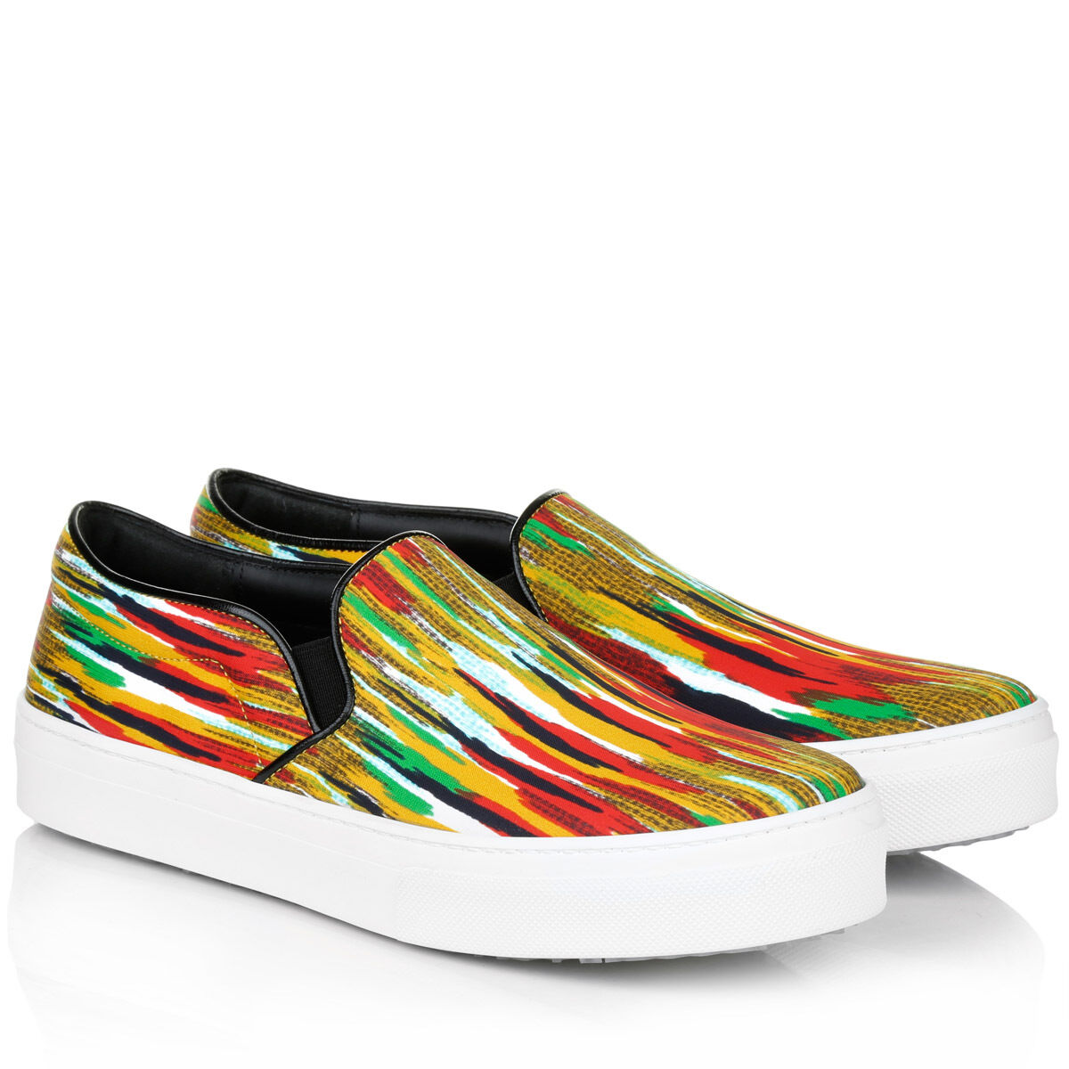 Celine Paris 8173 Striped Slip On Sneakers with Leather Details sz 41