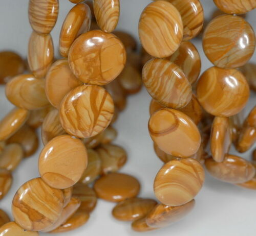 16MM HICKORY PETRIFIED WOOD FLAT ROUND BUTTON LOOSE BEADS 15.5/""