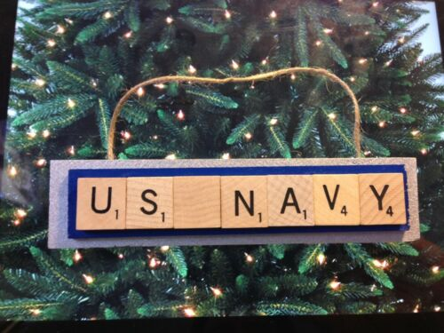 US Navy Scrabble Tiles Christmas Ornament Handmade Military Rear View Mirror