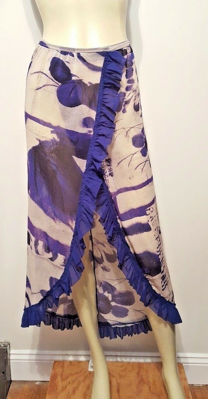Jean Paul Gaultier FUZZI lila Ruffled Wrap Skirt Sz S Cover Up Dress Mesh