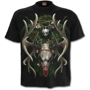 Spiral-Direct-Reinfear-Reindeer-Skull-Gothic-Christmas-Short-Sleeved-Tshirt