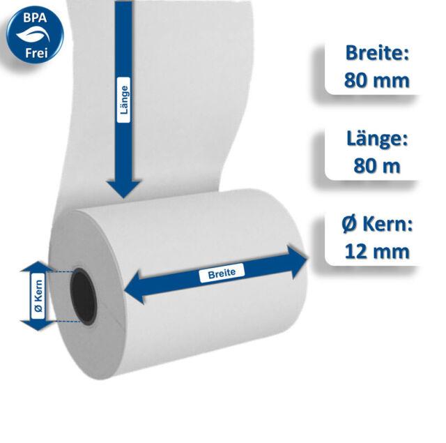 Thermorollen 80mm 80m Thermo Kassenrollen Bonrollen für Epson 80//80//12