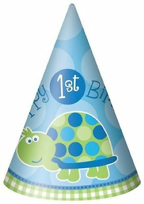 1st Birthday Turtle 8 Party Hats Tableware Decorations Boy Supplies