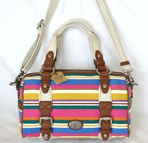 NEW-FOSSIL-MADDOX-STCHL-STRIPE-CANVAS-LEATHER-CROSSBODY-SHOULDER-HAND-BAG-PURSE