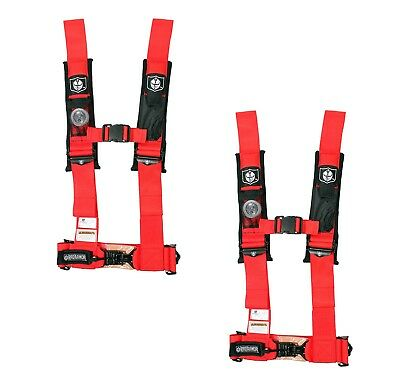 """Pro Armor 4 Point Harness 3/"""" Pads Seat Belt PAIR RED RZR 800 RZR4 XP900 900 XP"""