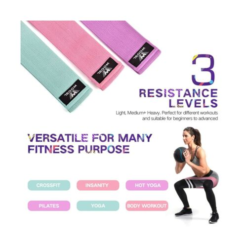 Booty Bands 2019 Upgraded Hip Resistance Bands Set Fabric Soft /& Non Slip De...