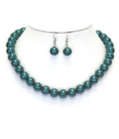 Green Pearl Faux Pearl 16 Necklace And Earring Set Green Pearls Necklace Set
