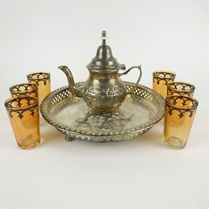 Morocco Sterling Silver Teapot & Serving Tray w/ 6 Rose Colored Serving Glasses