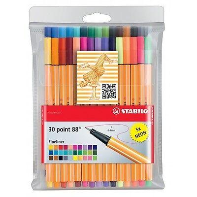 Stabilo Fineliner point 88 Etui mit 30 Stiften 25 Standardfarben + 5 Neonfarben