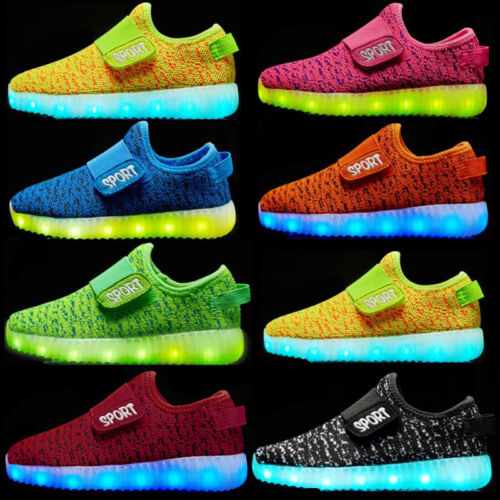 New Kids Boys Girls Light Up Shoes LED Flashing Trainers Casual Sneakers Uk Size