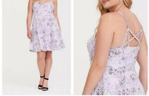 7f24cb5afcc Image is loading Torrid-Lavender-Floral-Jersey-Knit-Skater-Dress-1X-