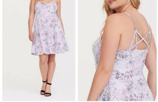 f874fd6de8c Torrid Lavender Floral Jersey Knit Skater Dress 1x 14 16  74905 for ...