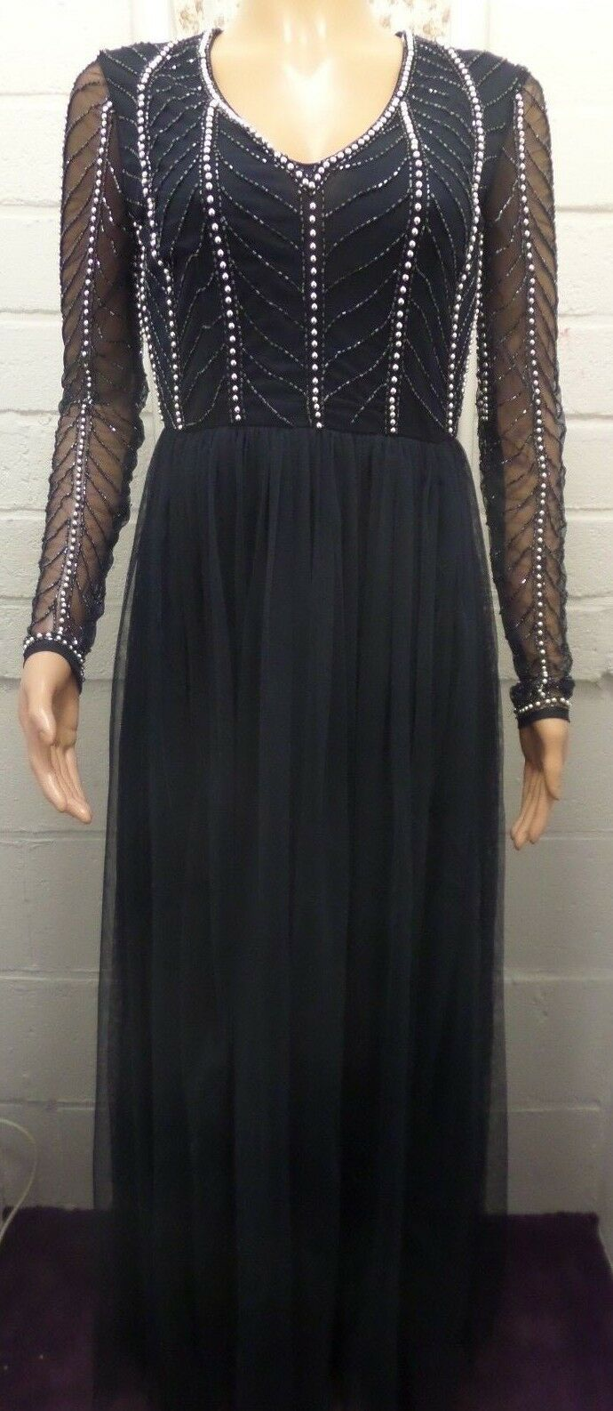 Women Ladies New Long Maxi Navy Bead Embellished Party Prom Occasion Dress 8-16