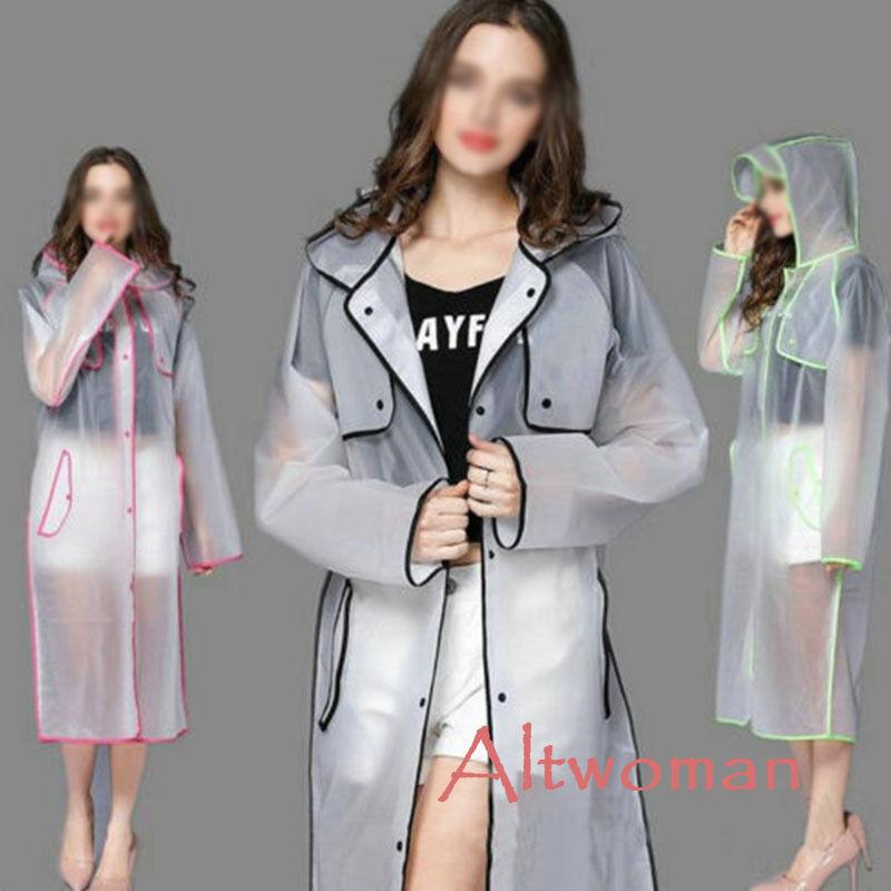 Hot Women/'s Girls EVA Transparent Hooded Rainwear Waterproof Outwear Raincoat