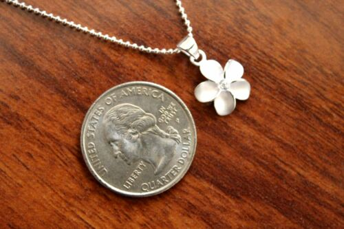 Hawaiian 925 Sterling Silver 12MM PLUMERIA CLEAR CZ Pendant Necklace SP43601