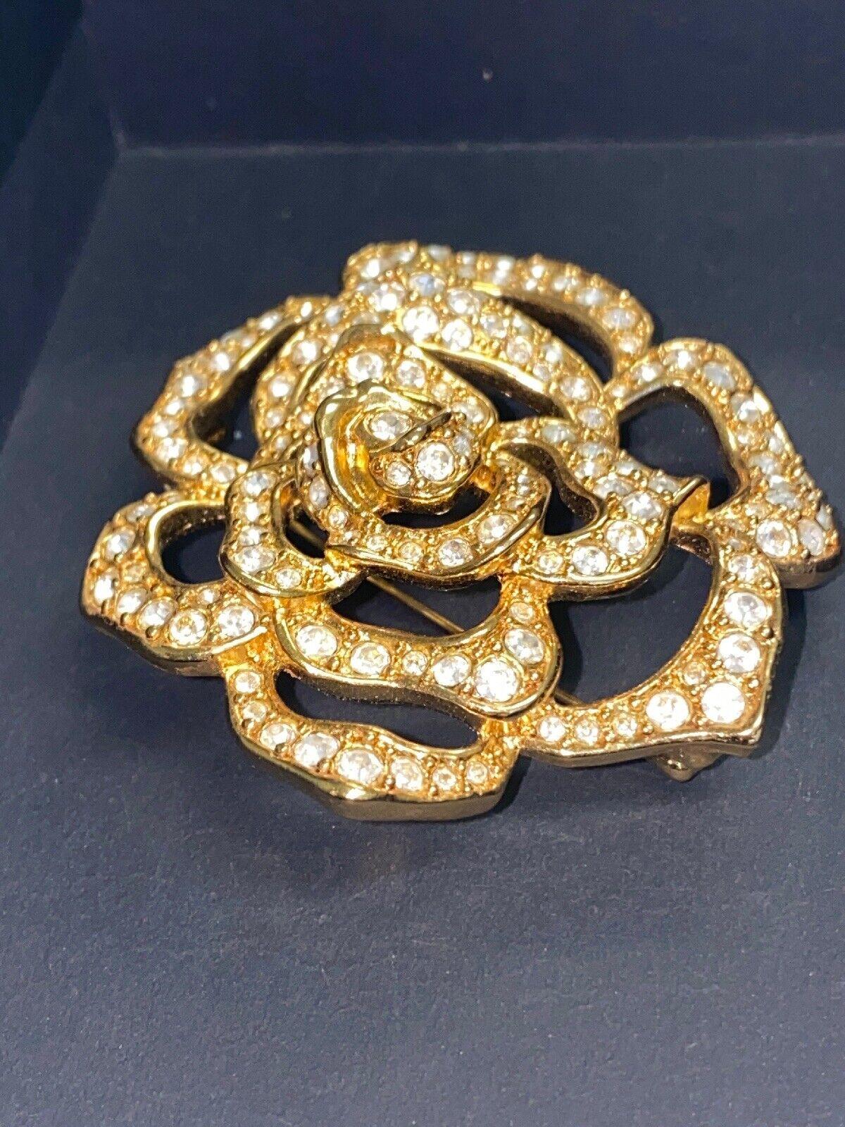 Vintage Elizabeth Taylor Crystal Paved Roze Pin - image 6