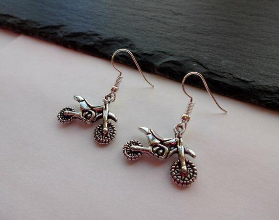 Motorcycle Earrings, Dirt Bike Earrings, Charm Earrings, Silver Earrings