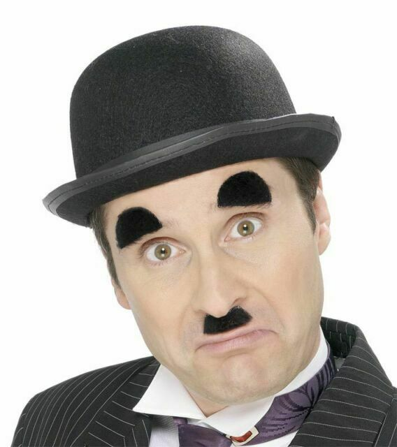 Charlie Chaplin Black Tash Mustache and Eyebrows Self Adhesive Facial Hair