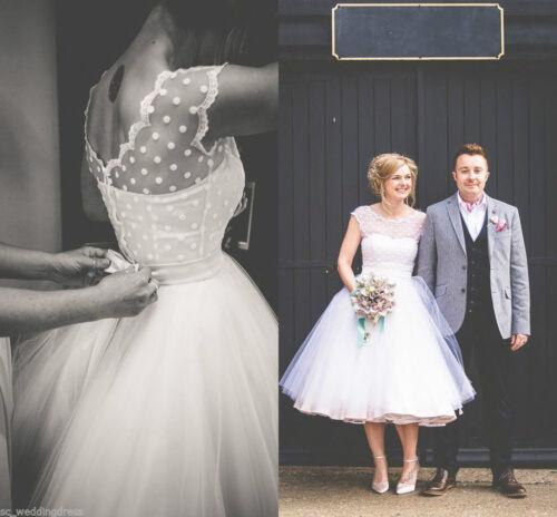 Vintage White//Ivory Dotted Short//Tea Length Formal Wedding Dress Bridal Gown