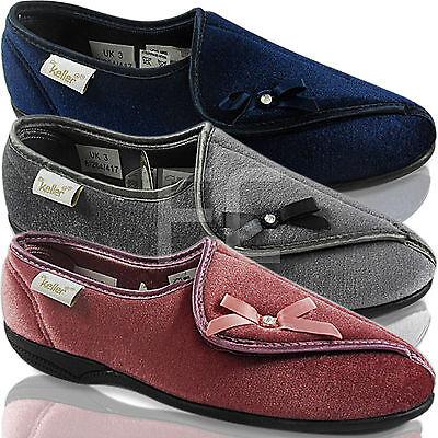 Nuevo Para Mujer Damas Cierre Táctil Zapatillas De Ancho Abierta Suela Dura Tamaño De Confort