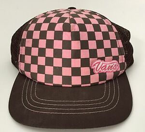 Image is loading Vintage-Vans-Pink-Brown-Checkerboard-Skate-Snapback-Ball- 01e69592182