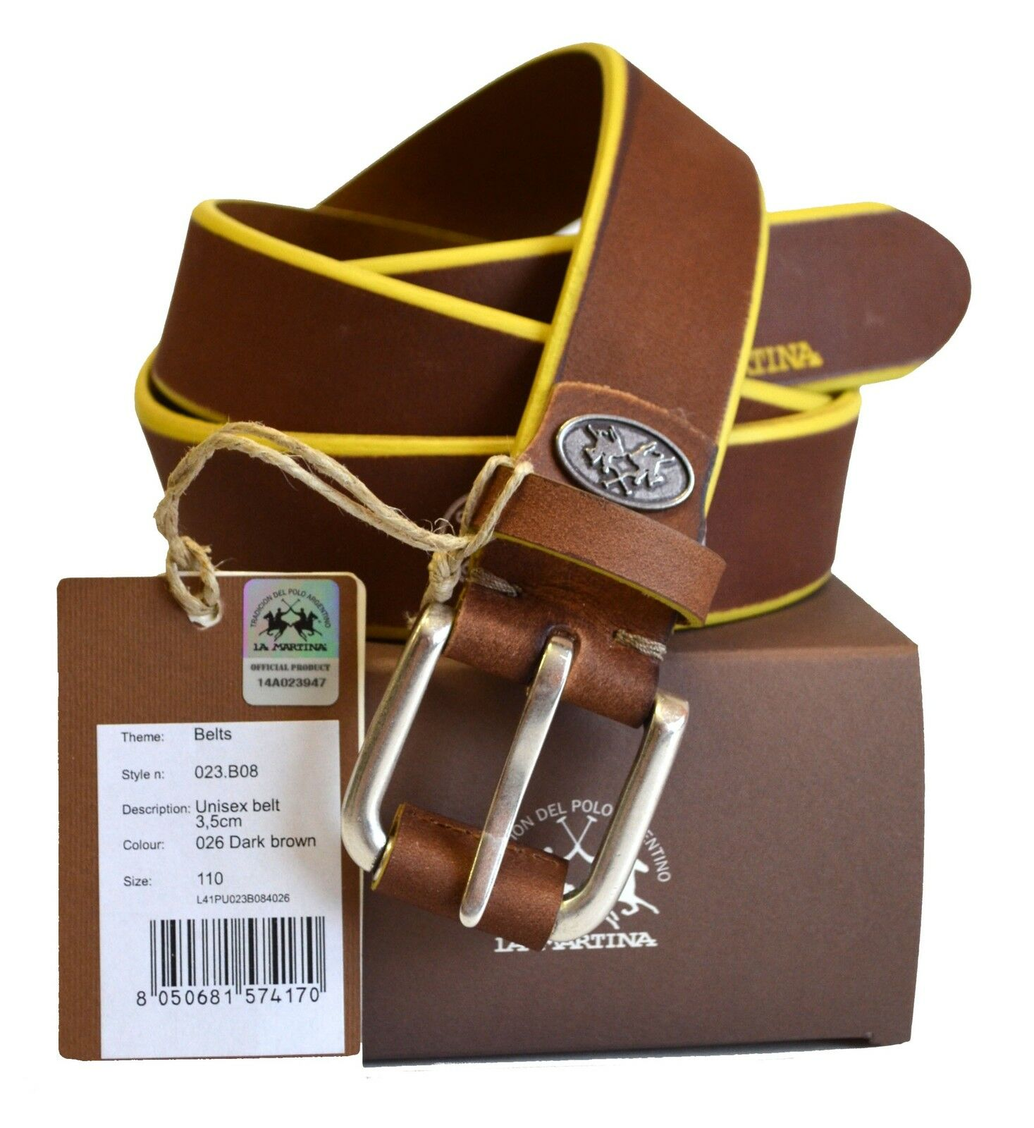 Belt Leather La Martina Man Men Belt leather 100% leather Dark Brown 023B08 Size