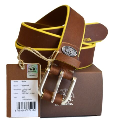 Cintura Pelle La Martina Uomo Men Belt Pelle 100/% Leather Dark Brown 023B08 Size