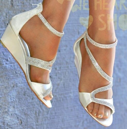 WOMENS SATIN MID WEDGE HEEL DIAMANTE DETAIL STRAPPY PEEP TOE EVENING PARTY SHOES