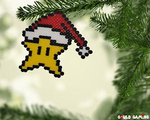 Christmas Mario Png.Details About Power Star Pixel Art 8 Bit Perler Beads Magnet Ornament Christmas Mario New