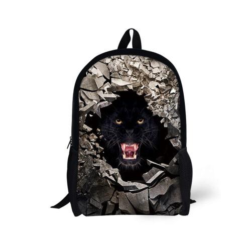 Teenager Boys Cool Animal Puma Print Backpack Rucksack School Satchel  Book Bag