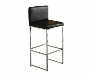Acme Furniture 70962 Zak Bar Chair Set Of 2 Black Pu Chrome For