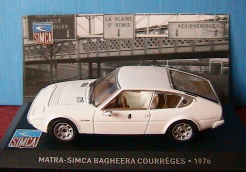 MATRA SIMCA BAGHEERA COURREGES 1976 BLANCHE IXO 1//43 AVEC SOCLE DE PRESENTATION
