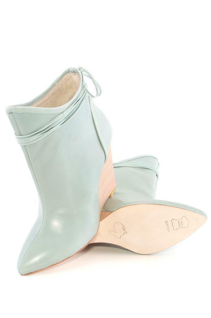 Plomo Camille Bootie Aqua Aqua Bootie Kid Leder High heel Ankle boot Wedge Teal NEW 23632f