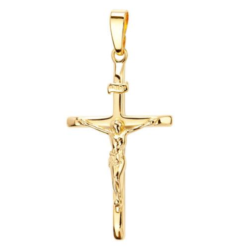 Kreuz-Anhänger Gold-Kreuz Jesus Christus mit INRI-Gravur 585 Gold 14 Karat