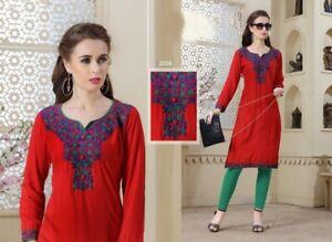 Women-Indian-Fashion-Rayon-Winter-Embroidery-Kurti-Tunic-Kurta-Top-Shirt-Dress