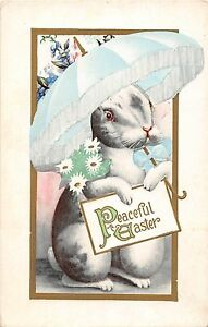 C36-Easter-Greetings-Holiday-Postcard-c1910-Humanized-Rabbit-Umbrella-20