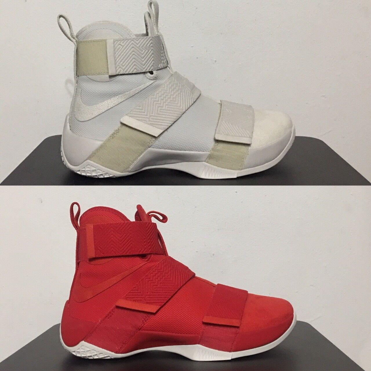 Nike lebron soldato 10 sfg lux scarpe da basket luce osso rosso 911306 luce ossa, università di rosso