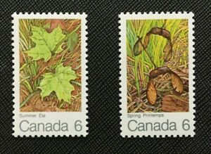 Canada #535 #536 MNH Stamps 1971 - Seasonal Leaves (Spring and Summer)